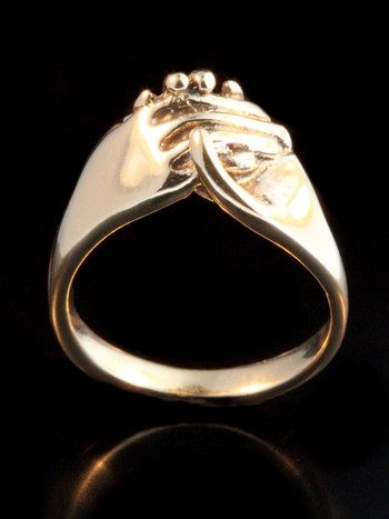 Hands Clasping Ring 14k Gold