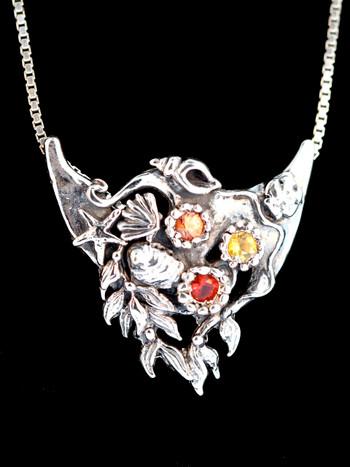 Atlantis Treasure Pendant with Mexican opal, orange and yellow sapphires