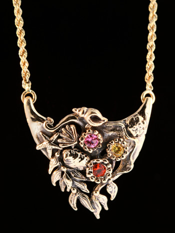 14k gold Atlantis Treasure Pendant with Gemstones