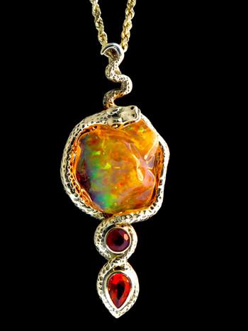 Tri-Opal Infinity Snake Pendant - 18 K Gold