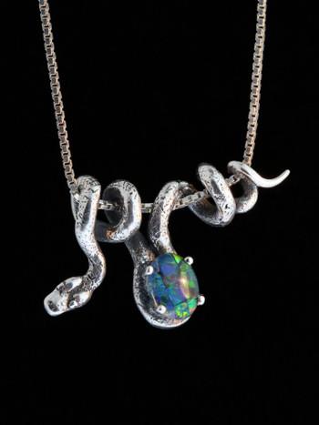 Vine Snake with Australian Opal Triplet - Silver