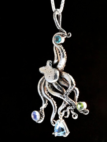 Large octopus pendant with gemstones 2 silver marty magic store large octopus pendant with gemstones 2 silver mozeypictures Choice Image