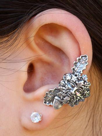 Green Man Ear Cuff - Silver