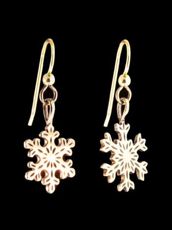 Small Snowflake Earrings in 14K Gold
