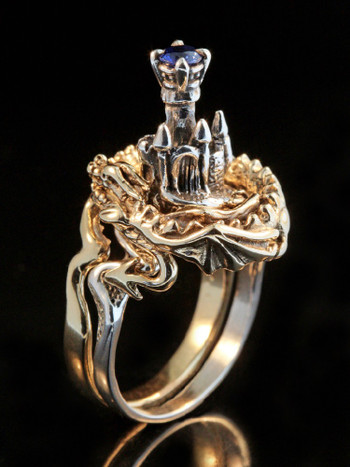Castle Dragon Ring with Sapphire - 14K Gold and Silver