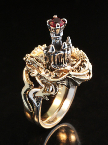 Castle Dragon Ring with Ruby - 14K Gold and Silver