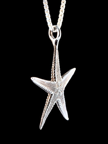 Life Casting Starfish Charm in Silver