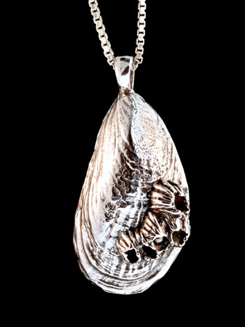 Life Casting Mussel with Barnacles Pendant in Silver