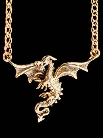 Dragon in Flight in 14K Gold