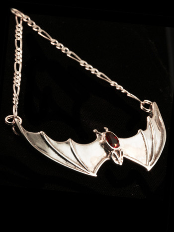 Large Spread Winged Bat Pendant with Gemstone Back in Silver