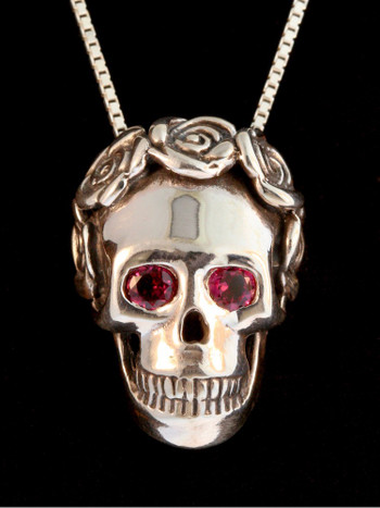 Skull and Rose Pendant with Gemstone Eyes