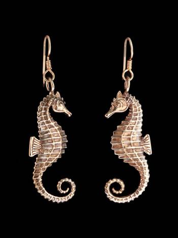 Seahorse Earrings - Bronze
