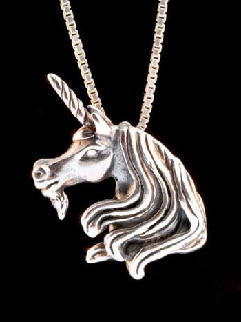 Vintage Unicorn Head Charm - Silver