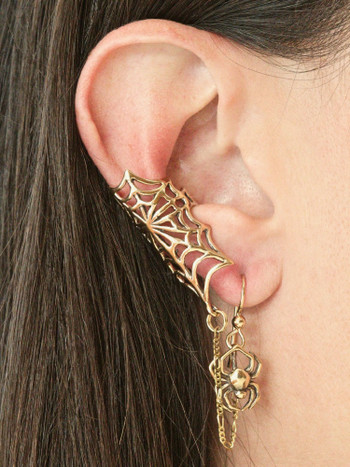 Web and Chained Spider Ear Cuff - 14K Gold