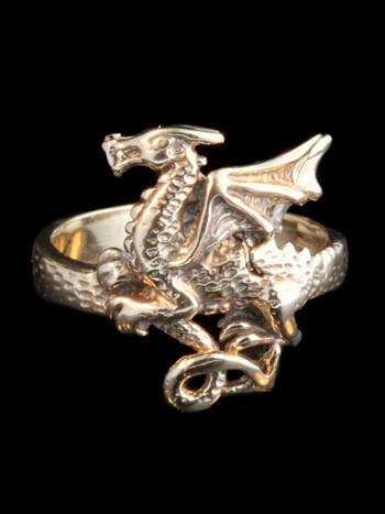 Flat Dragon Ring - 14k Gold