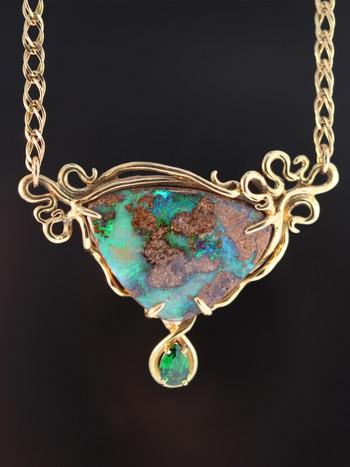Ocean Reef Boulder Opal Pendant Jewelry