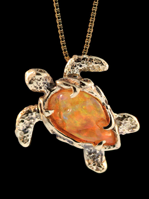 Opal treasure back sea turtle pendant silver marty magic store mexican fire opal back sea turtle pendant 18k gold mozeypictures Images