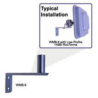 "WMB Wall Mount Bracket - For mounting a pole mount antenna to a wall. 8""standoff from wall, 1.25"" diameter mounting tube.   Antenna Wall Mount Bracket The WMB Universal Wall Mounting Brackets are constructed of zinc plated steel for long service life. The mount seams are welded for durability. The mount WMB-8 provides 8"" of standoff from the wall and supports over 35LBs. The mount is attached to the wall with two screws and can be mounted very quickly. The industry standard 1.25"" mount diameter allows mounting of most pole type mount antennas. Typically the pole mount type antenna has a bracket which accommodates full tilt and azimuth adjustment."