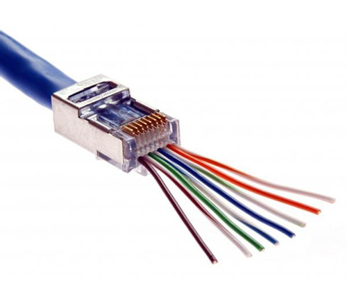quick install rj45 shielded cat5e connector feed through wires rh rowewireless com wiring cat5e connectors crimping cat5e connectors