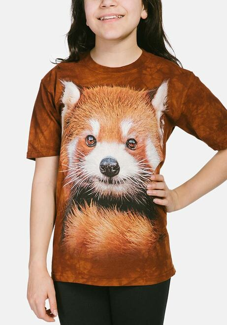 Red Panda Portrait Kids T-Shirt Modeled