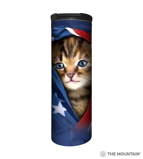 Patriotic Kitten Barista Travel Mug