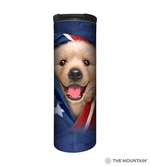 Patriotic Golden Pup Barista Travel Mug