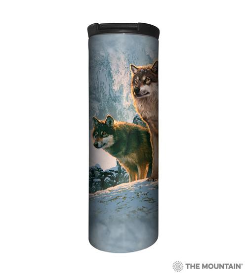 Wolf Couple Sunset Barista Travel Mug