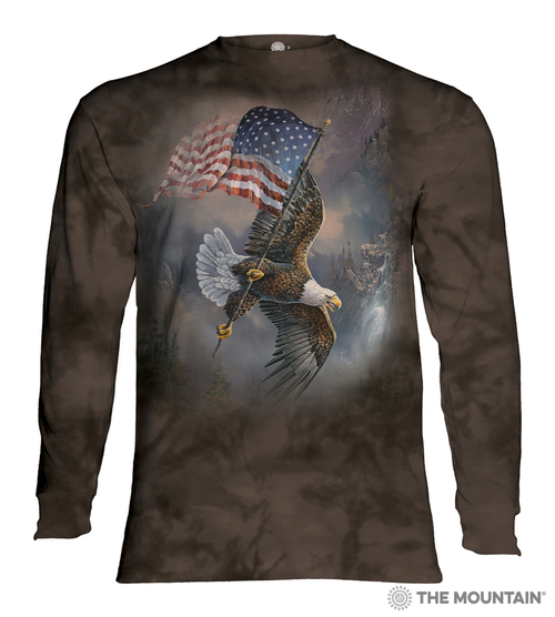 Flag-Bearing Eagle Adult Long Sleeve T-Shirt