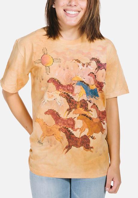 Horses and Sun T-Shirt Modeled