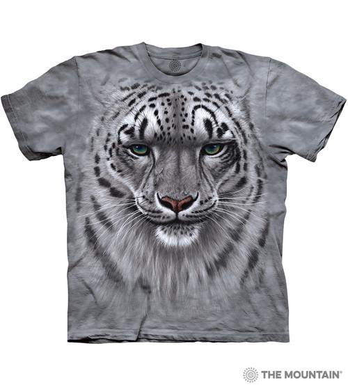 The Mountain Adult Unisex T-Shirt - Snow Leopard Portrait