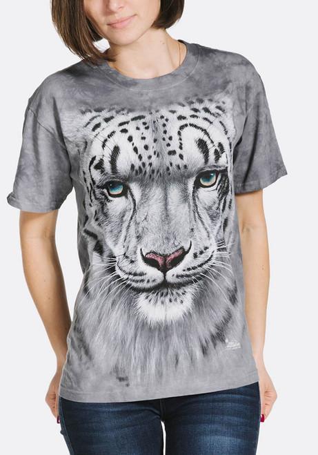 Snow Leopard Portrait T-Shirt Modeled