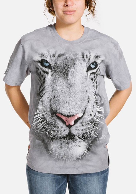 White Tiger Face T-Shirt Modeled