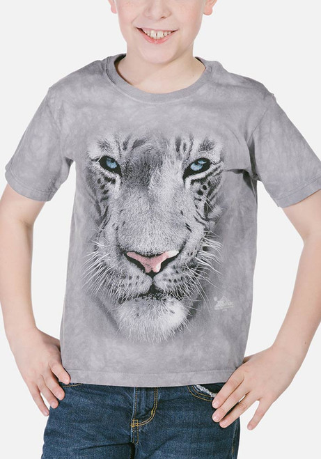 White Tiger Face Kids T-Shirt Modeled