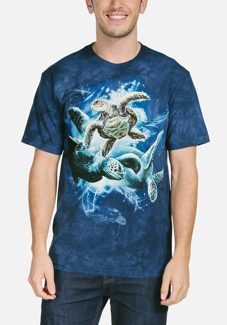 Sea Turtle Collage T-Shirt Modeled
