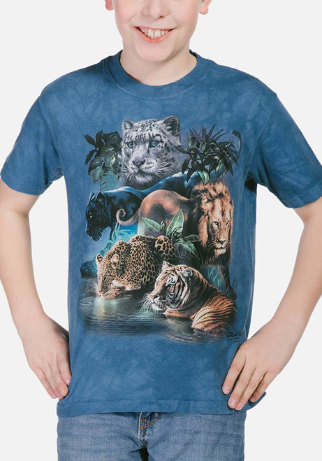 Big Jungle Cats Kids T-Shirt Modeled