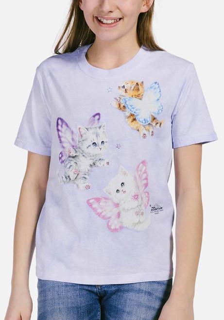 Butterfly Kitten Fairies Kids T-Shirt Modeled