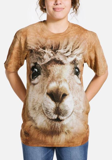 Big Face Alpaca T-Shirt Modeled
