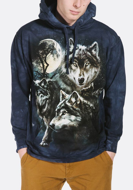 Moon Wolves Collage Hoodie Modeled