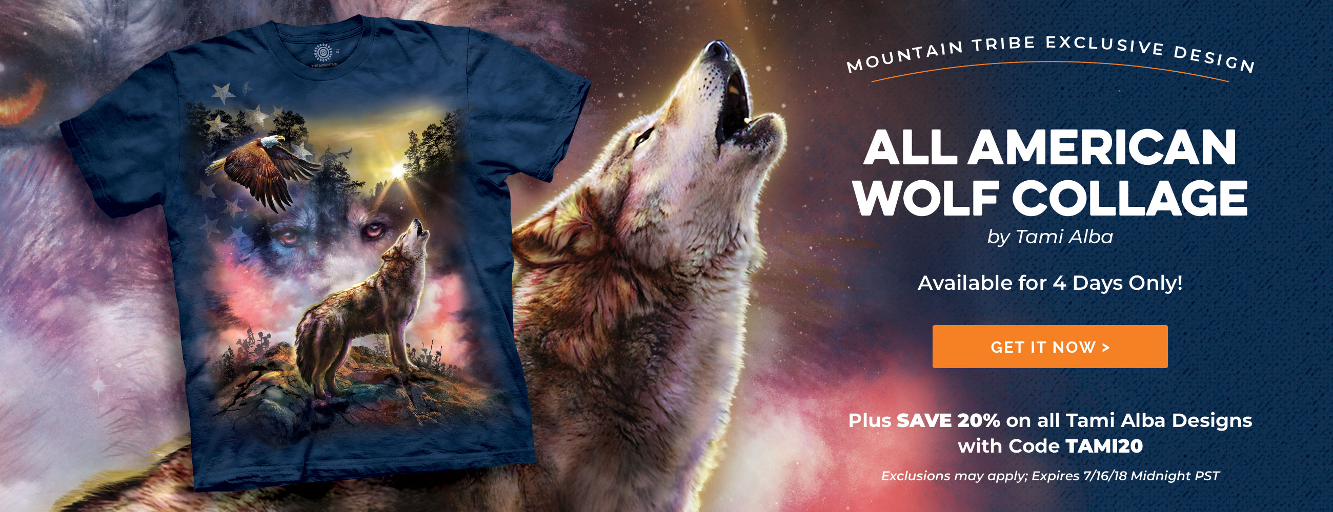 Tami Alba - All American Wolf Collage T-Shirt