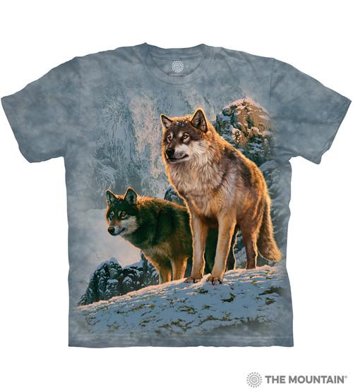 The Mountain Adult Unisex T Shirt Wolf Couple Sunset