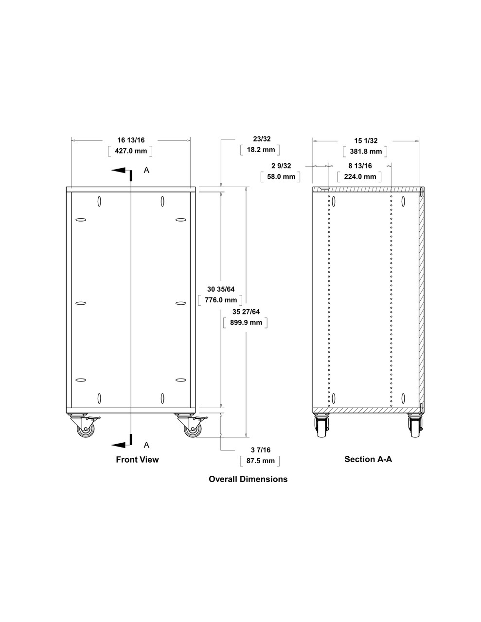 TSC-90 Systainer cart dimensions.