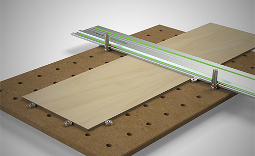 DoubleGroove Dogs™ can be used to secure your workpiece to your perforated worktop at perfect 90 or 45 degree angles.