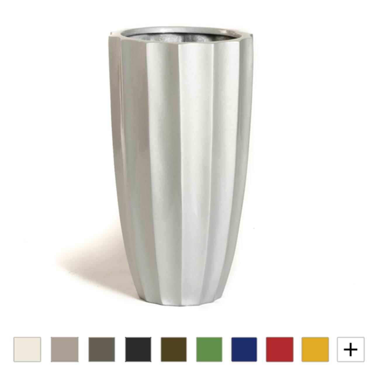 fluted modern fiberglass planter
