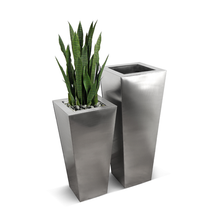 Stainless Steel Tapered Planter - Satin Finish