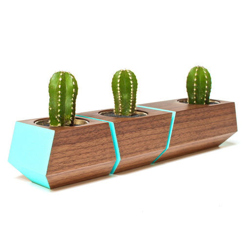 DISCONTINUED Boxcar Planter- Walnut and Blue