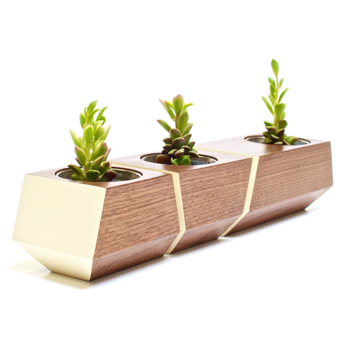 DISCONTINUED Boxcar Planter- Walnut and Bone White