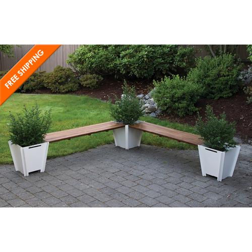Flat Pack L Shape Planter Bench Modern Patio Furniture