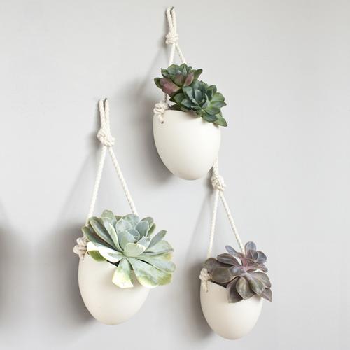 porcelain and cotton rope hanging planter set of 3. Black Bedroom Furniture Sets. Home Design Ideas