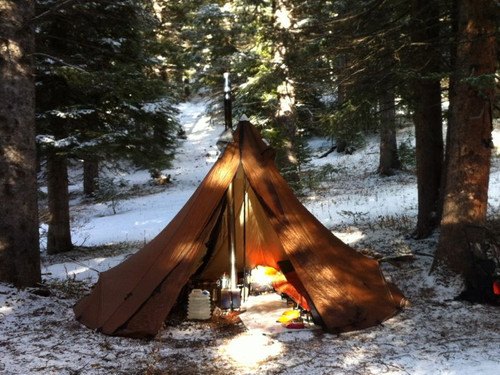 4 Person TIpi Tent with Stove Color Brown