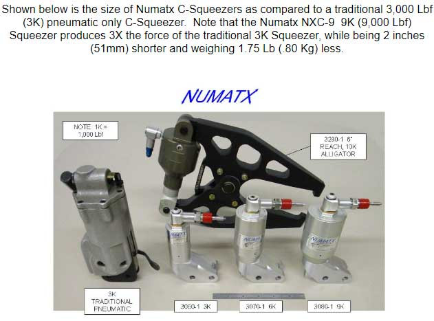 Numatx Compression Rivet Squeezer System Size Comparison